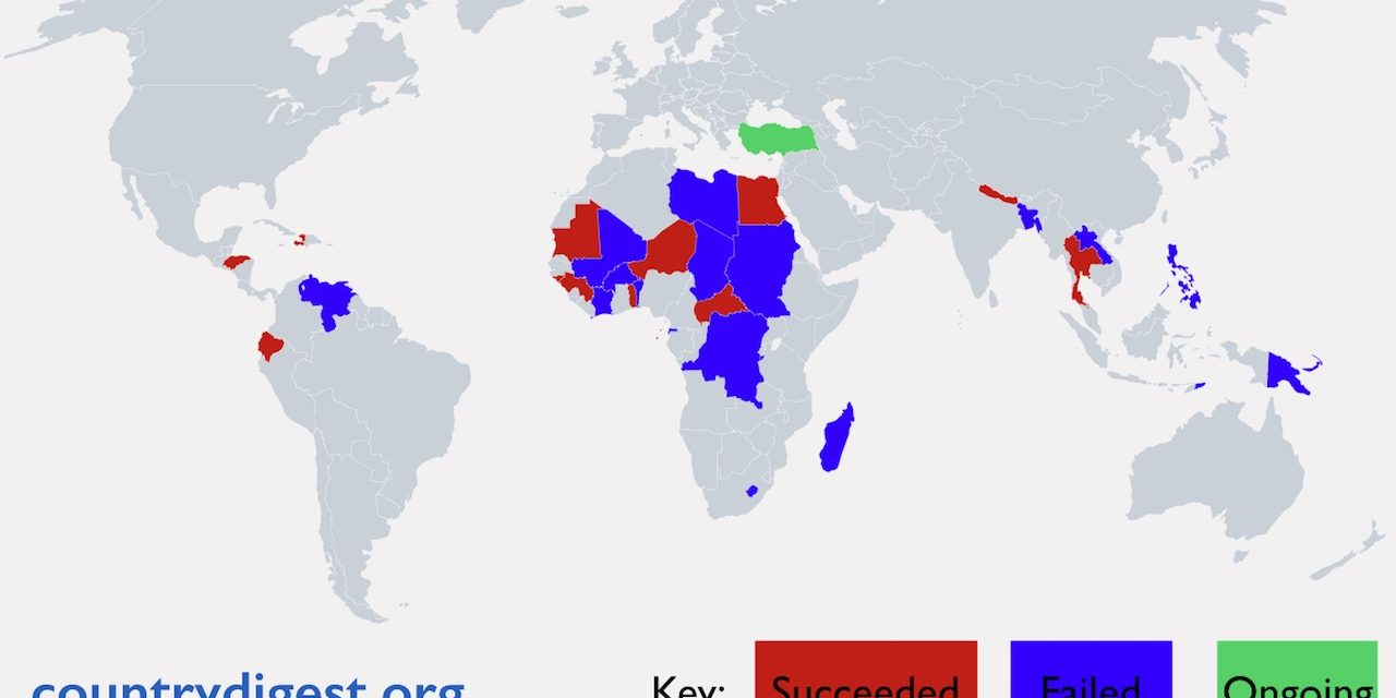 Map of coups since 2000 – including Turkey