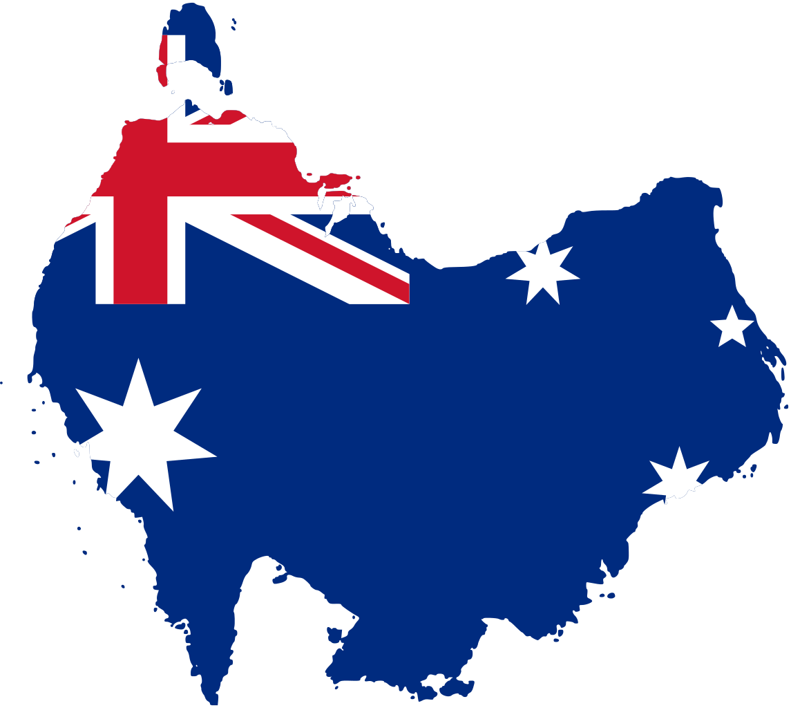 Upside-down Australia flag map