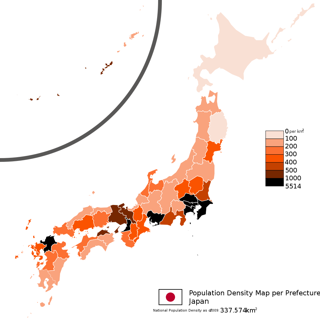 Japan population density map