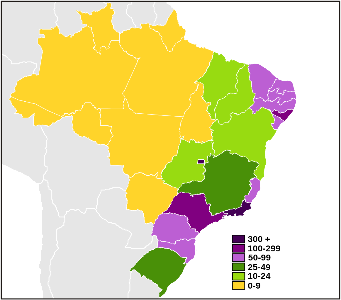 Brazil population density map