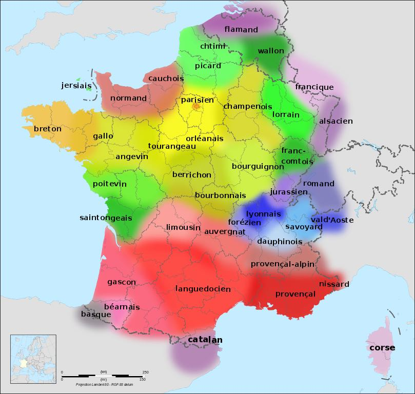 Language map of France (source).