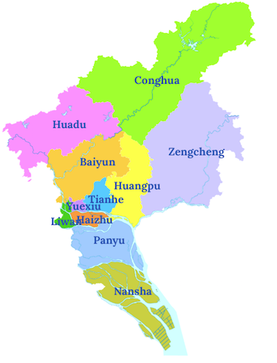 Map of Guangzhou districts