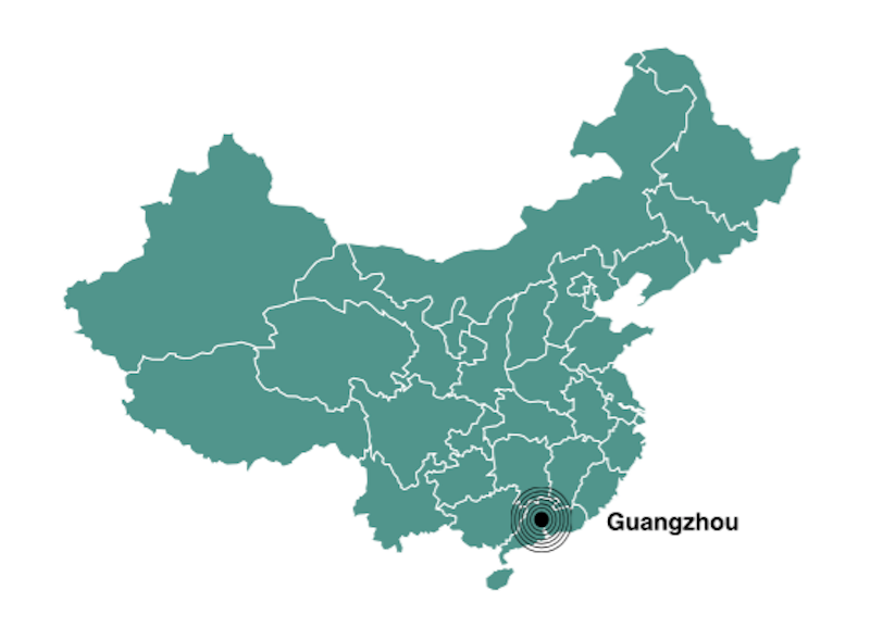 Where is Guangzhou located in China map