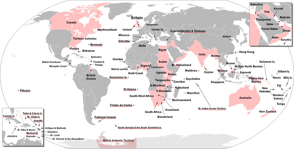 This map shows all of the territory ever controlled by the British Empire.