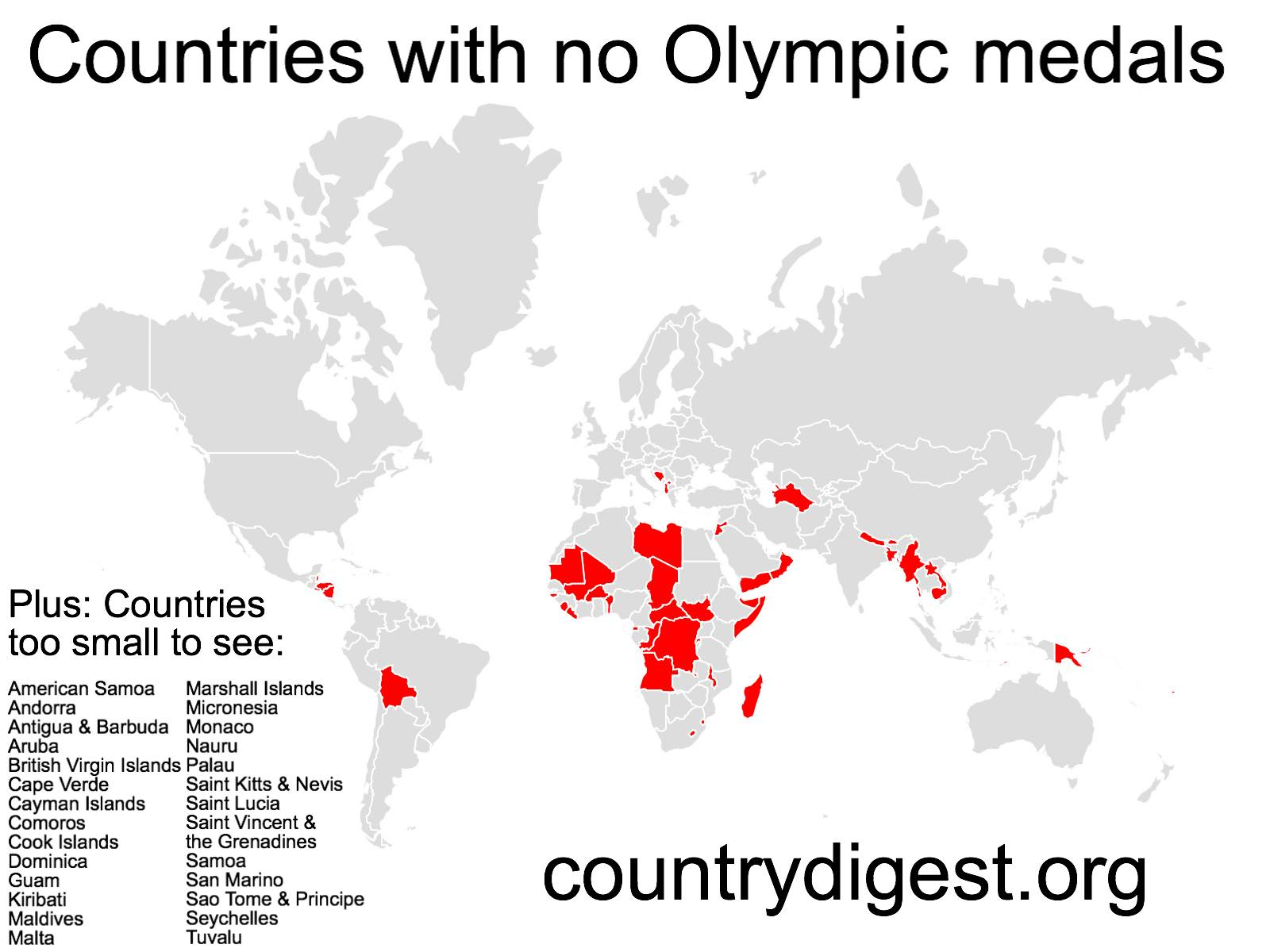 No Olympic Medals Countries map