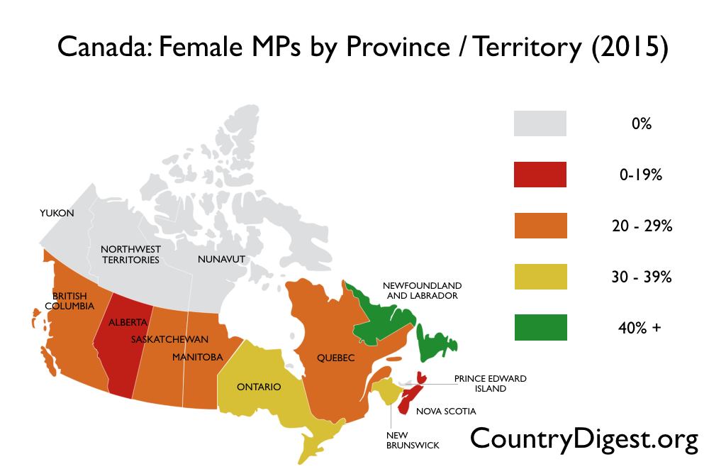 Canada Female MPs by Province