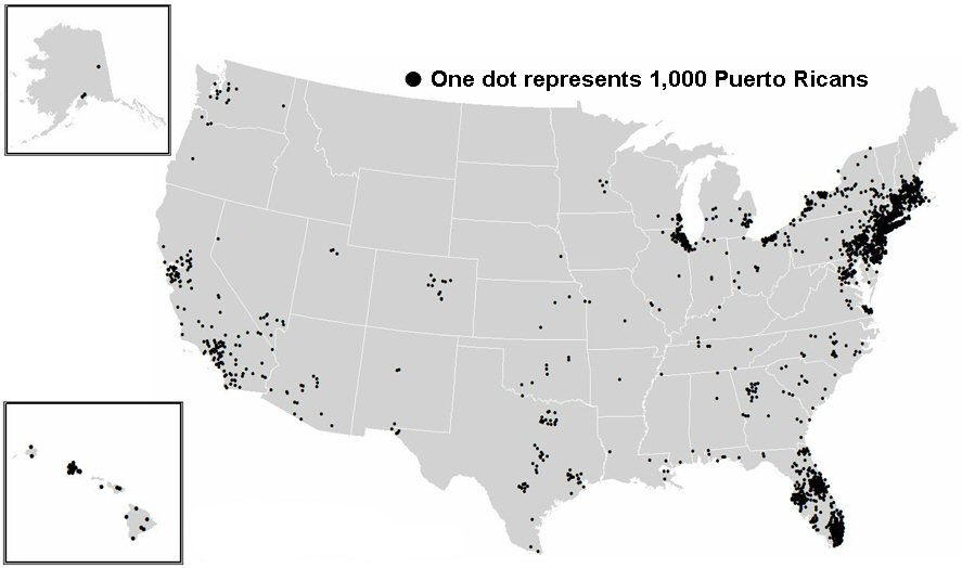 puerto ricans in the usa map